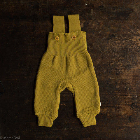 Exclusive Organic Merino Dungarees - Curry