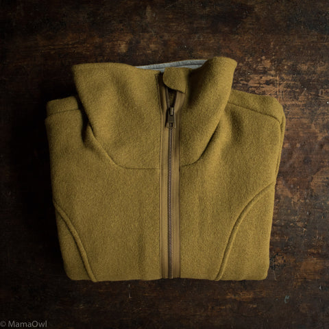 Women's Boiled Wool Coat - Gold