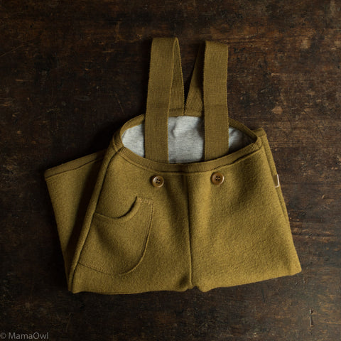 Exclusive Organic Boiled Wool Pocket Dungarees - Gold