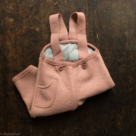 Exclusive Organic Boiled Wool Pocket Dungarees - Rose