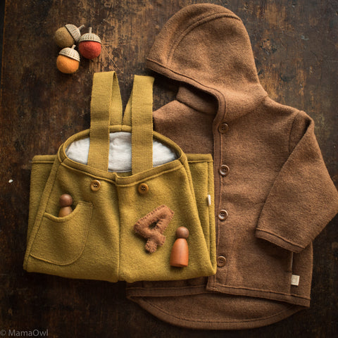 Exclusive Organic Boiled Merino Jacket- Old Style - Hazelnut
