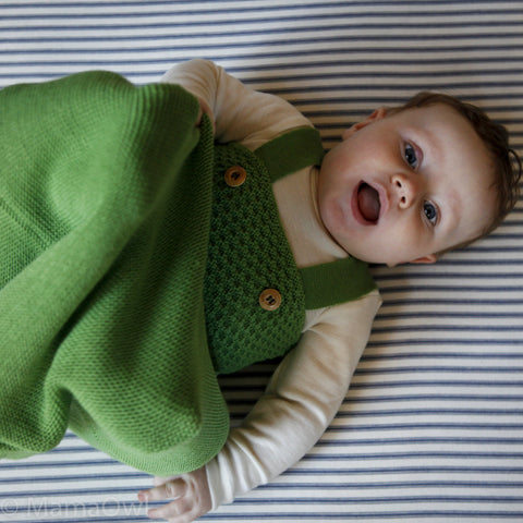knitted organic merino wool sleeping bag - Green