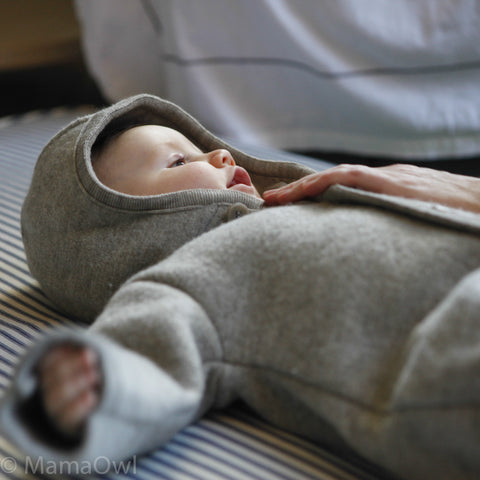Organic Boiled Merino Wool Overall - New Grey - 0m-2y