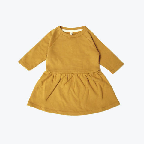 Organic Cotton Dress - Mustard - 12-18m
