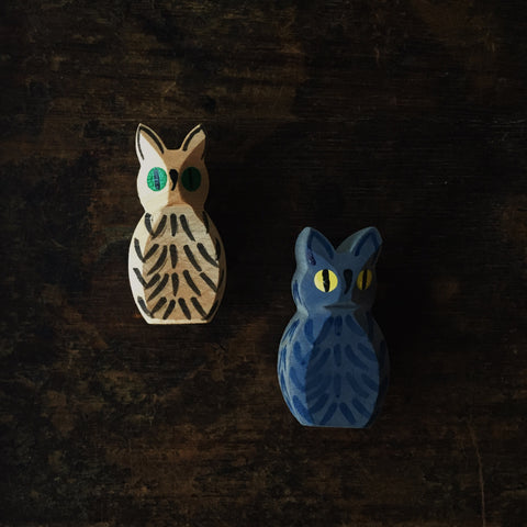 Handcrafted Owl - Blue or Natural