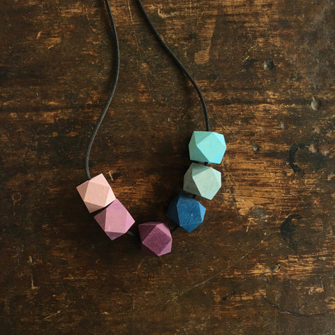 Wooden Rainbow Necklace - Coloured wooden gems - Winter