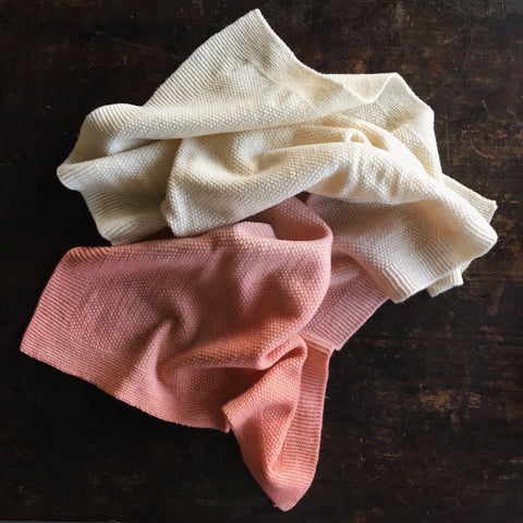 Merino Wool Baby Blanket/Swaddle - Natural Dyes - Natural/Pink