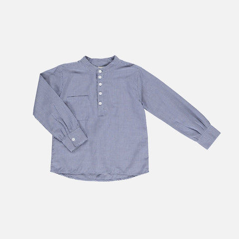 Organic Cotton Emil LS Check Shirt - Blue - 2-10y