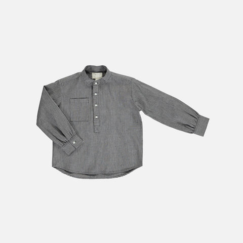 Organic Cotton Stripe Emil Shirt - Grey - 2-10y