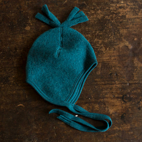 100% Organic Merino Wool Fleece Hat - Teal