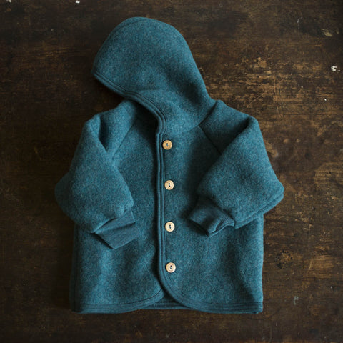 100% Organic Merino Wool supersoft Fleece Jacket - Teal - 0m-2y