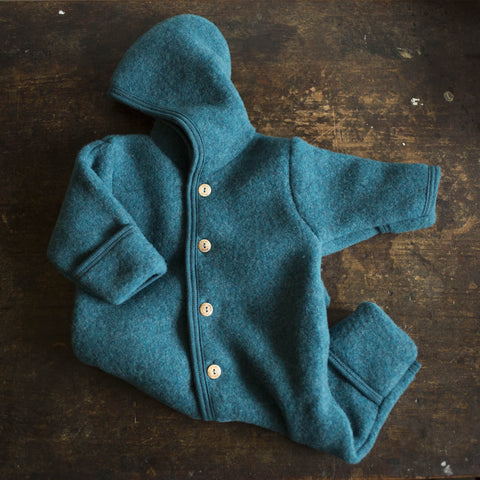 100% Supersoft Organic Merino Wool Fleece Suit - Teal - 0m-2y