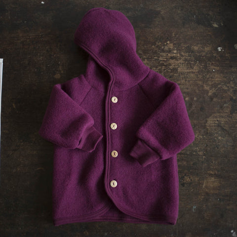 100% Organic Merino Wool supersoft Fleece Jacket - Berry - 1-2y