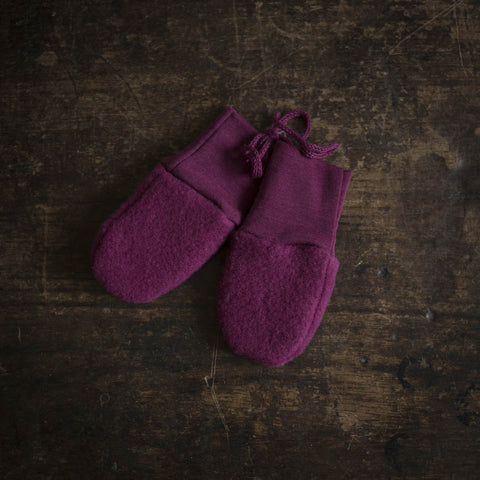 100% Organic Merino Wool Fleece Mittens - Berry