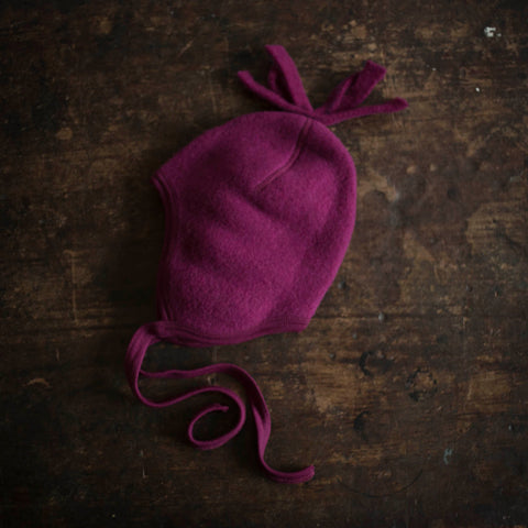 100% Organic Merino Wool Fleece Hat - Berry