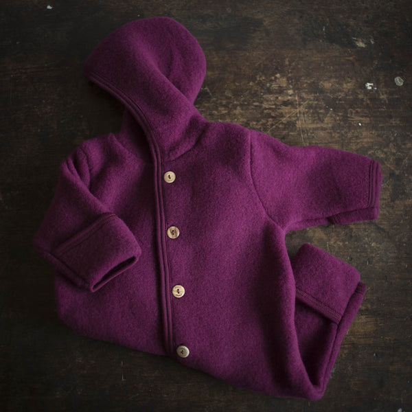 100% Supersoft Organic Merino Wool Fleece Suit - Berry - 0-3m