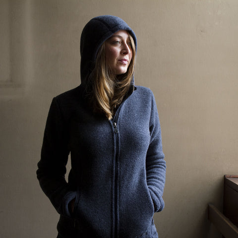 100% Organic Merino Wool Fleece Jacket - Navy - Women's