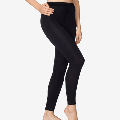 Organic Silk & Merino Wool Ladies Leggings - Black - L