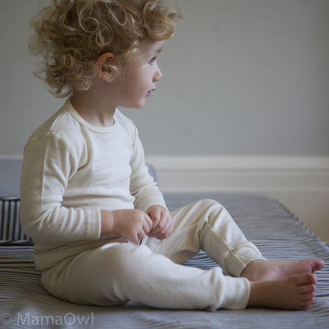 Organic Silk & Merino Wool Long Johns (trousers) - Natural 18m-12y