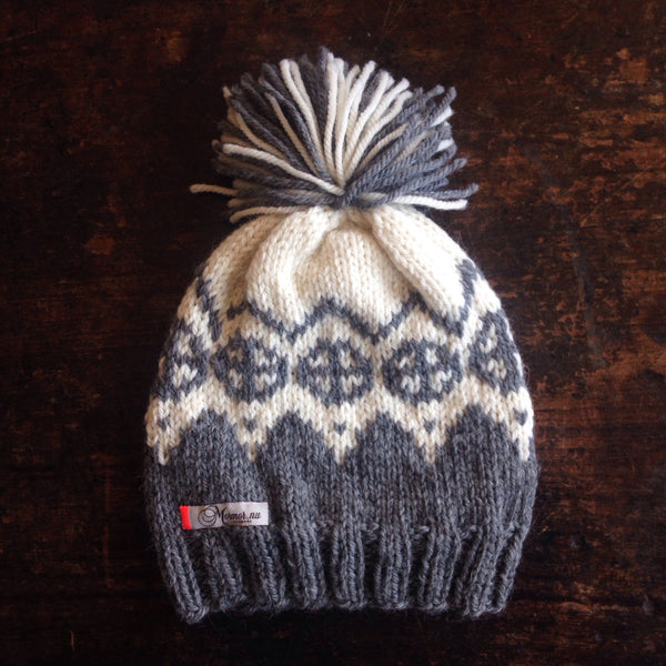 Hand knitted Palle Wool/Alpaca Hat - Light Grey - 1-5 years