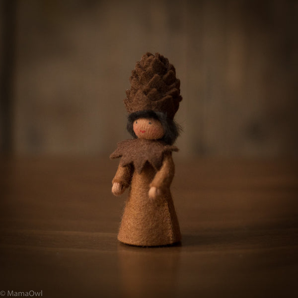 Handmade Small Wool Winter Fairy - Pinecone