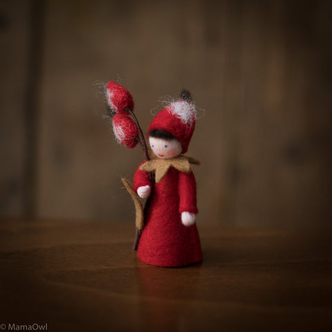 Handmade Small Wool Fairy With Flower - Rose Hip