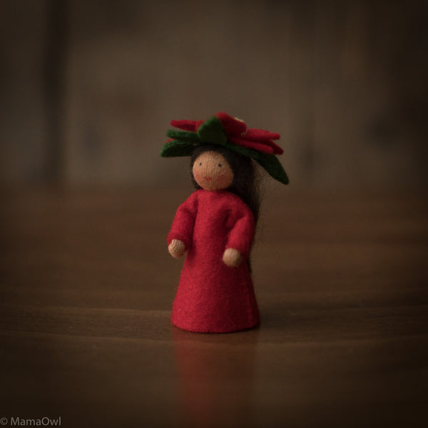 Handmade Small Wool Winter Fairy - Poinsettia