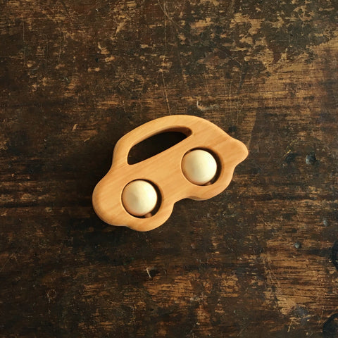 Natural Wood Rattle Car