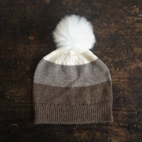 PomPom Hat - Brown Tones - 2y