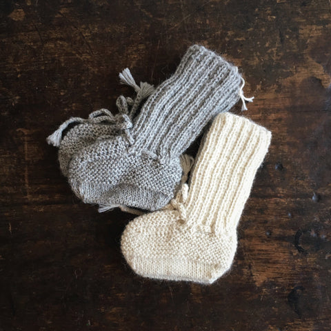 Hand Knitted Alpaca Rib Booties - Grey or Natural - 3-12m
