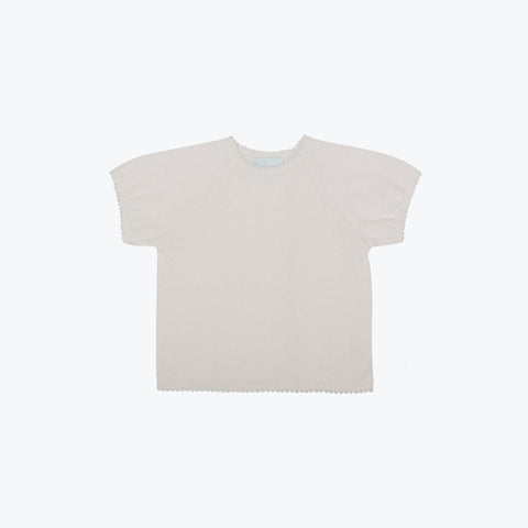 Organic Cotton Top With Crochet - Dune - 9m