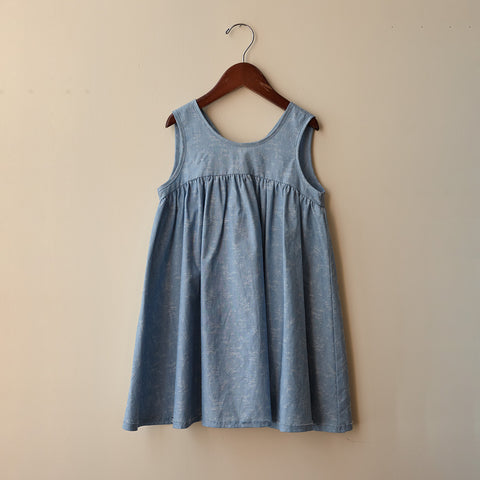 Cotton Frankie Dress - Chambray - 4-8y