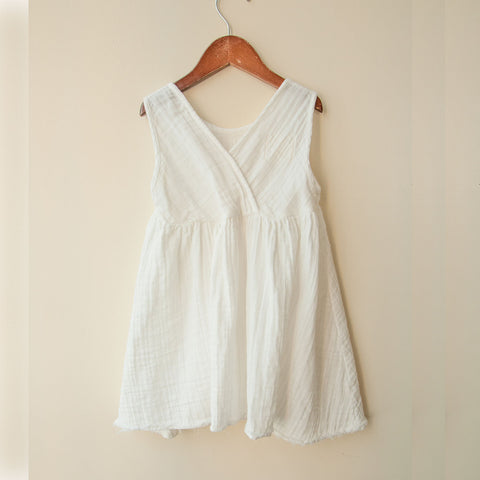 Cotton Frankie Dress - White - 2y