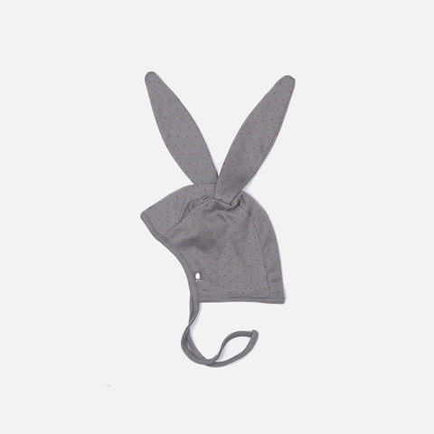 Organic Cotton Bunny Bonnet - Charcoal/Red dots - 0-3 months