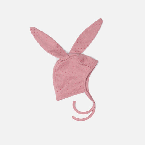 Organic Cotton Bunny Bonnet - Pink/Red Dots - 0-3 months