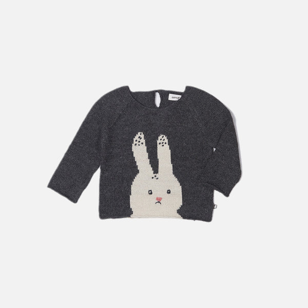 Alpaca Bunny Sweater- Dark Grey - 6m-6y