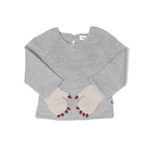 Alpaca Monster Sweater- Grey/White - 12m