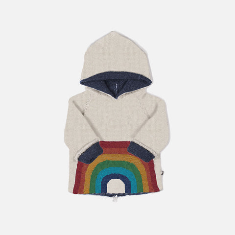 Alpaca Double Layer Rainbow Hoodie- White - 12m-6y