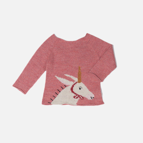 Alpaca Unicorn Sweater- Rose/White - 12m-2y
