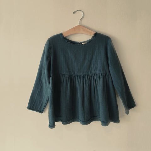 Cotton Natalie Top - Navy - 2-10y
