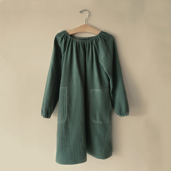 Cotton Peasant Dress - Sea Glass - 2-10y