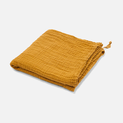 Cotton Muslin Large Swaddle - Mustard - 120x120cm