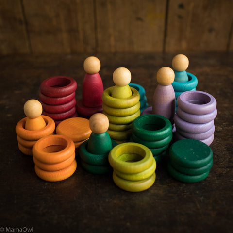 6 Wooden Nins, Rings and Coins - Earth Colours
