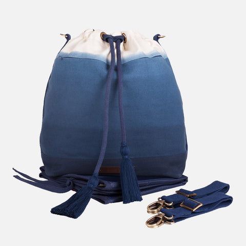 Cotton Changing bag- bucket style - Dip Dye Blue