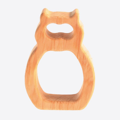 Natural wood owl grasper and teether