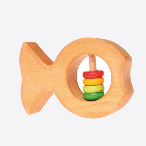 Wooden rainbow rattle fish