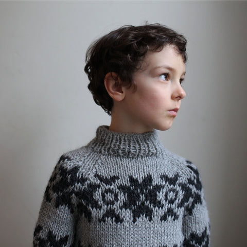 Hand knitted Faroese Alpaca wool sweater 2-12 years