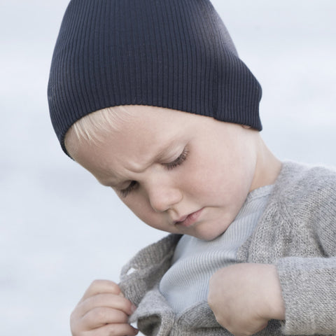 Silk/Cotton Rib Beanie - Dark Blue - 2-6y