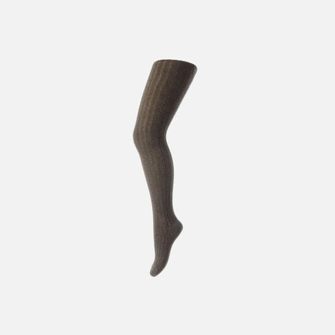 Cotton Rich Rib Tights - Brown - ADULT