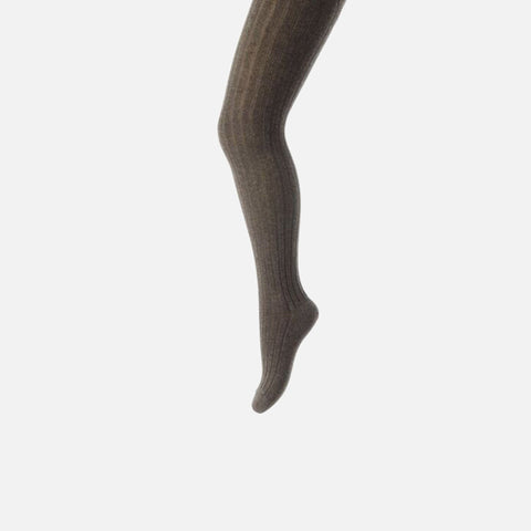 Cotton Rich Rib Tights - Brown - 0-12y